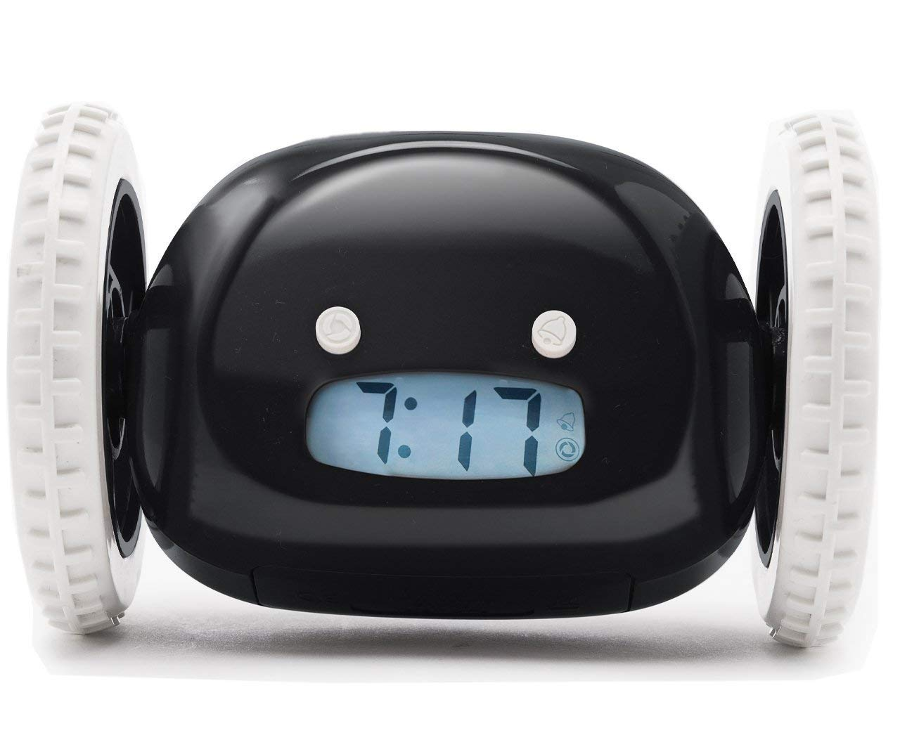 clocky runaway alarm clock on wheels chase after to snooze